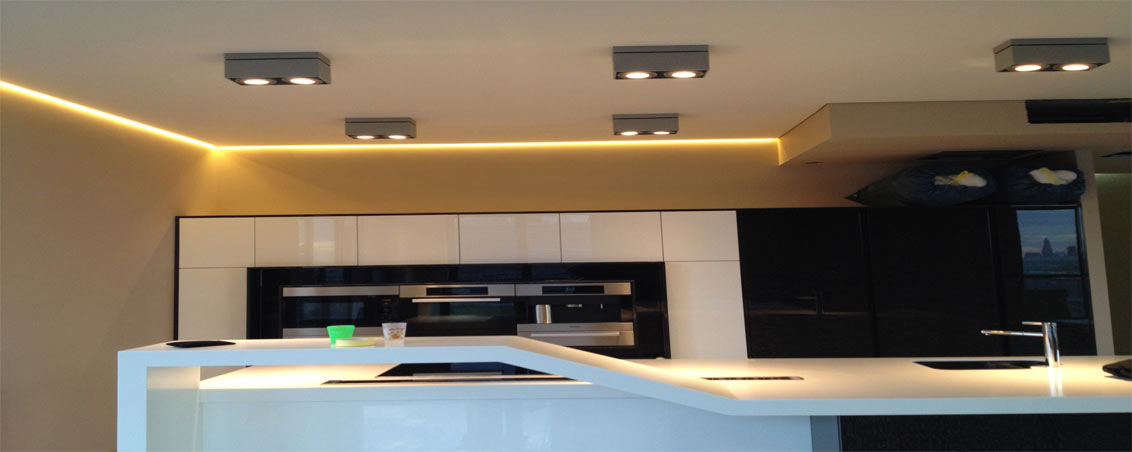 Парящие натяжные потолки для кухни