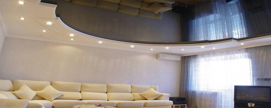 Двухуровневые натяжные потолки для гостиной