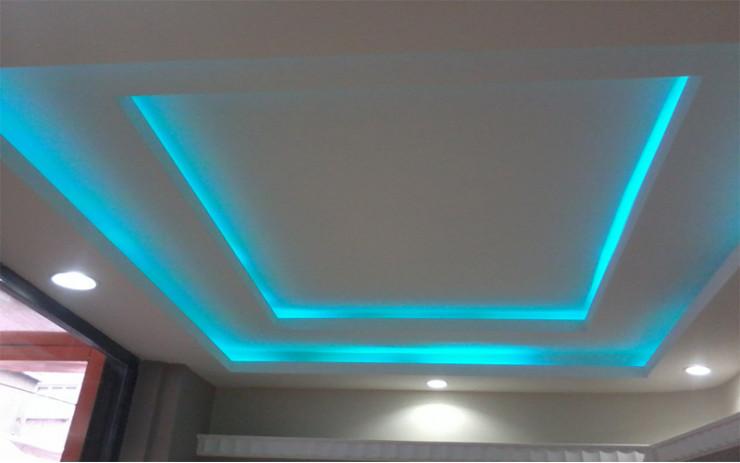 Натяжной Потолок ПВХ с Подсветкой для Гостиной