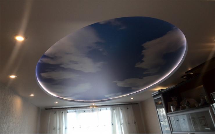 Натяжной Потолок ПВХ с Подсветкой для Спальни
